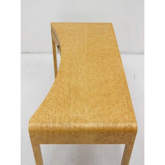 Birds Eye Maple Burl Wood Desk & Bench - Image 8 of 11