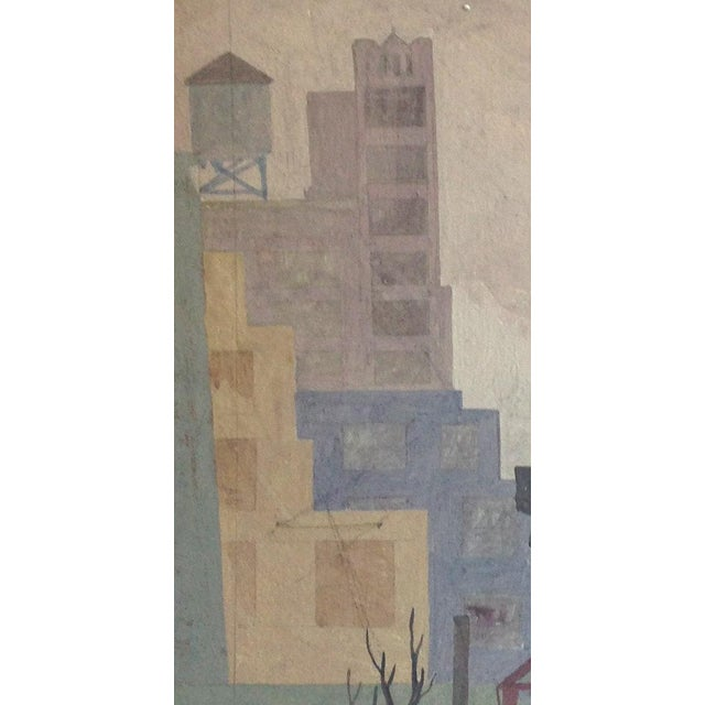 This is a gritty original painting of urban rooftops, size 15 inches by 21.5 inches on board, unframed. Note that there...