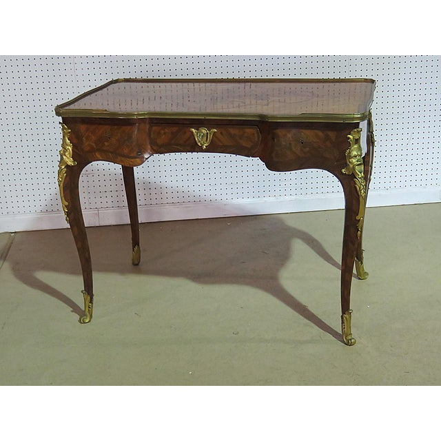 19thC bronze mounted, inlaid bureau plat with 3 drawers.