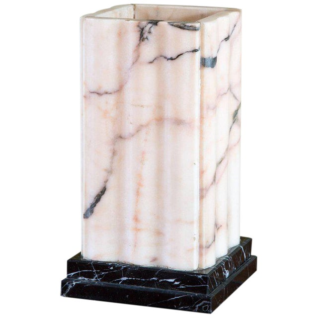 Pink Marble Art Deco Lamp For Sale