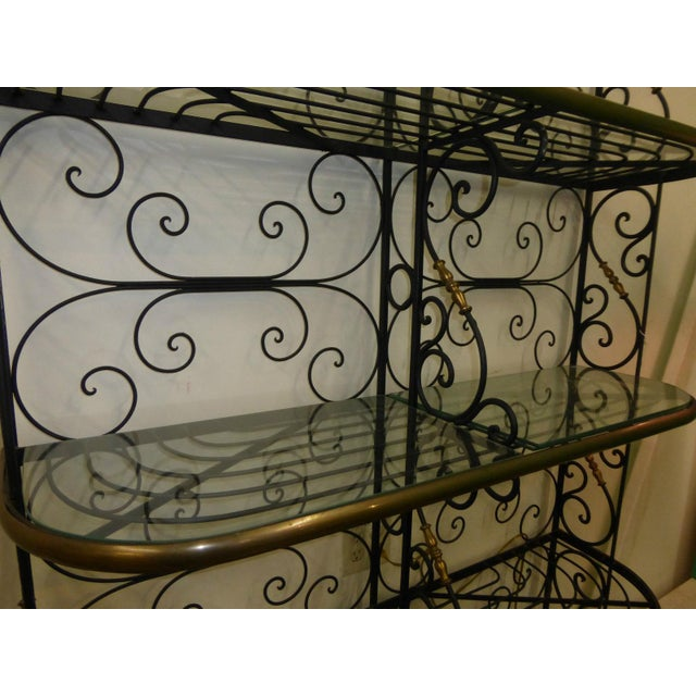 Vintage Baker's Rack Solid Wrought Iron W Solid Brass Hardware Bookcase For Sale - Image 11 of 11