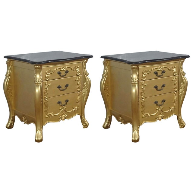 Gold French Louis XV Nightstands - Pair - Image 1 of 6