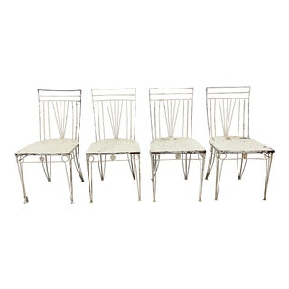 Set of Four French Iron Bistro Dining Chairs - 19th C For Sale