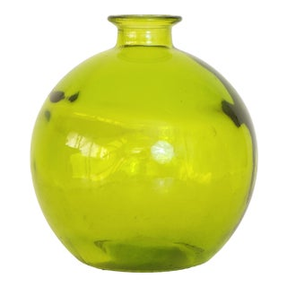 Mediterranean Style Spanish Handblown Green Recycled Glass Bottle For Sale