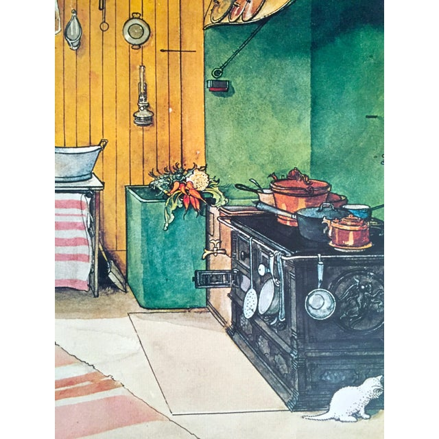 """Lithograph Carl Larsson Vintage 1972 Original Swedish Lithograph Print Poster """" Koket the Kitchen """" 1898 For Sale - Image 7 of 12"""