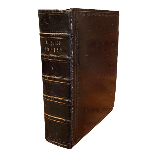 """19th Century English """"Life of Christ"""" Black Leather Bound Book With Gilt Dated 1857 For Sale"""