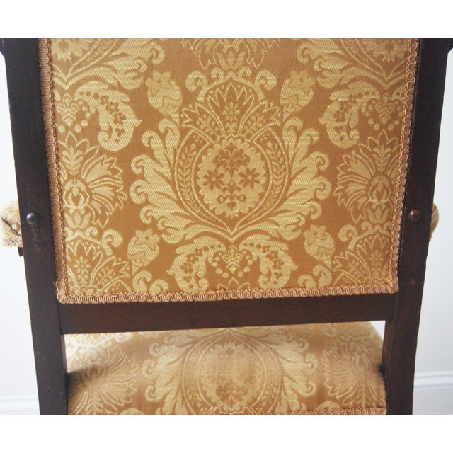 Vintage American Victorian Carved Wood Arm Chair - Image 4 of 6