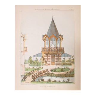 1880s French Architectural Lithograph Folio, 25 Sheets For Sale