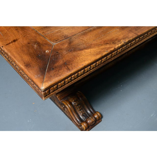 French Antique Hand Carved Oak Wood Trestle Library Table For Sale - Image 11 of 12