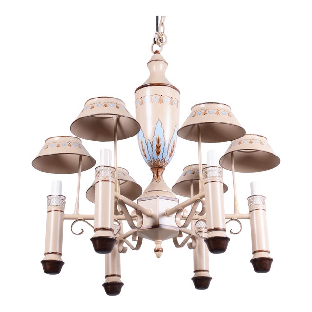 Vintage Chandelier With Six Lamp Holders With Shades For Sale
