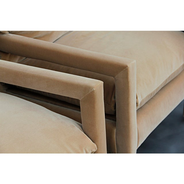 1970s Milo Baughman Parsons Chairs Reupholstered in Camel Velvet - a Pair For Sale - Image 5 of 6