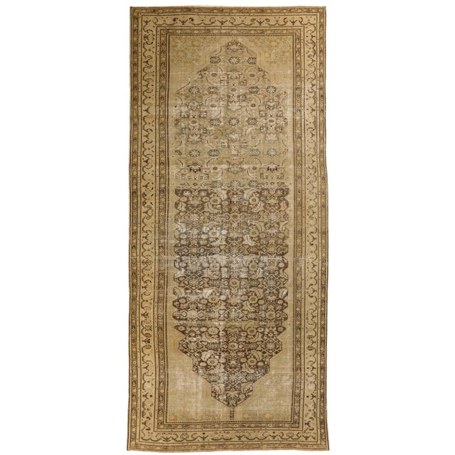 1960s Antique Persian Rug Malayer Design With Fading Floral Details - 6′8″ × 15′6″ For Sale