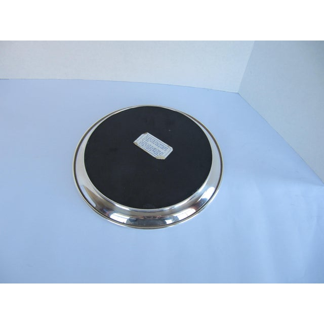 Traditional Vintage Silverplate Tray with Black Laminate Insert For Sale - Image 3 of 4