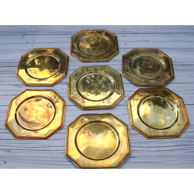 Vintage Solid Brass Hexagon Charger Plates - 6 - Image 2 of 7
