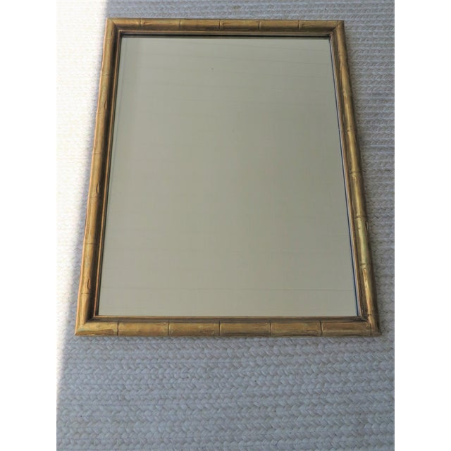Vintage Palm Beach Style Gilt Faux Bamboo Rectangular Mirror For Sale - Image 9 of 13