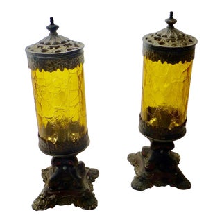 Antique Victorian Boudoir Lamps - a Pair