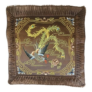 Pure Silk Hand Embroiled Phoenix Throw Pillow For Sale