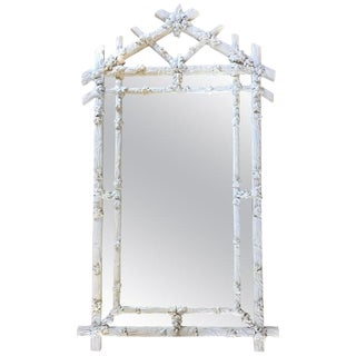 1970's Hollywood Regency Style Faux Bois White Plaster Carved Branch Wall Mirror For Sale
