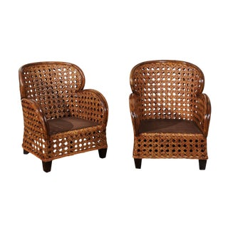 Radiant Pair of Art Deco Revival Club Chairs in Magnificent French Cane For Sale