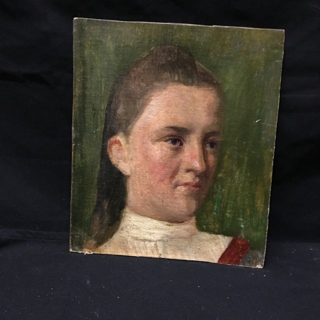 19th Century Young Girl Oil Painting - Image 3 of 5