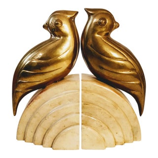Art Deco Brass Birds Bookends - a Pair For Sale