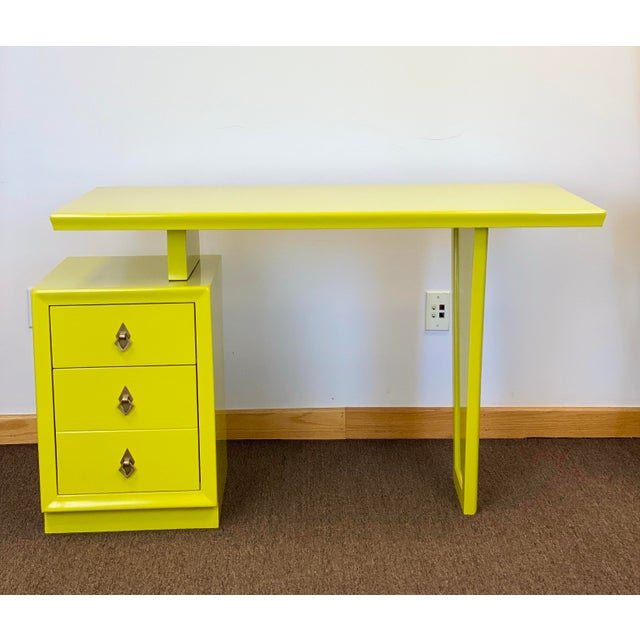 Art Deco 1920s Vintage Art Deco Lacquered Green Desk For Sale - Image 3 of 9