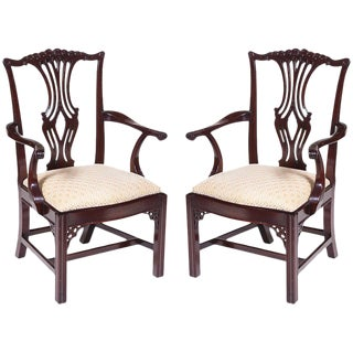 1970s Vintage Chippendale Arm Chairs - a Pair For Sale