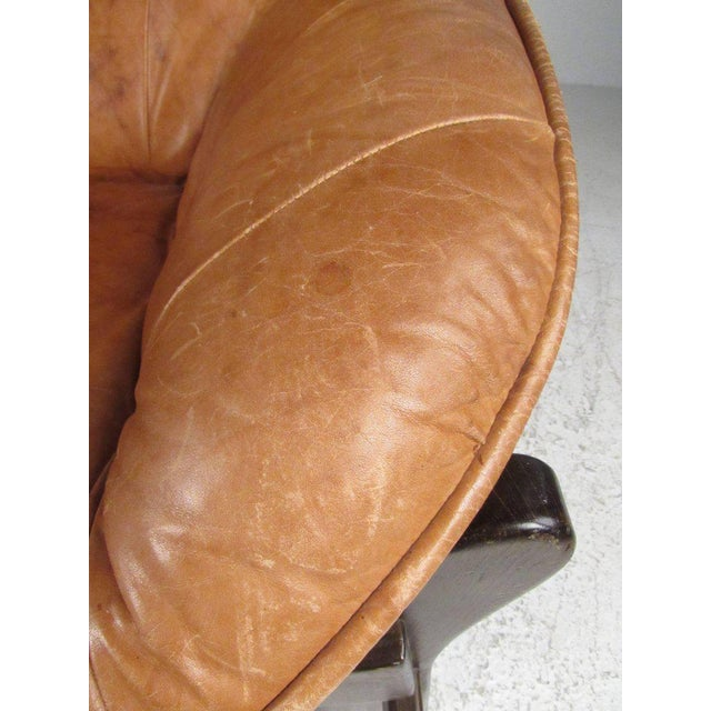 Brown Vintage Leather Lounge Chair in the Style of Percival Lafer For Sale - Image 8 of 11