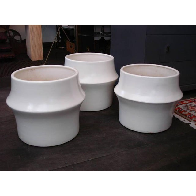 Oversized Modernist Heavy Ceramic Planters, Three Available - Image 2 of 5