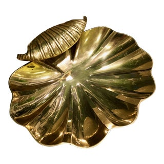 Large Brass Clam Shell Dish
