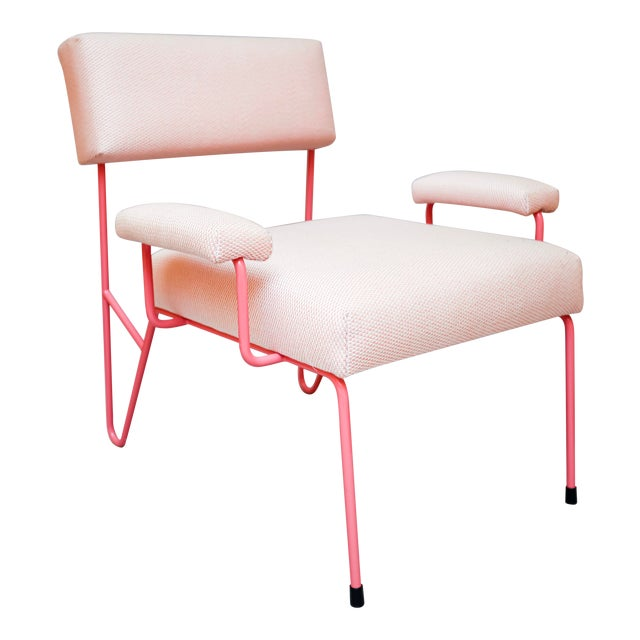 Alex Outdoor Lounge Side Club Chair, Pink Upholstered Sunbrella with Pink Stainless Steel Powder Coated Base For Sale