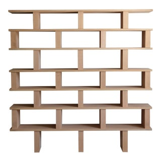 Contemporary Design Frères Verticale Polished Oak Shelving Unit For Sale
