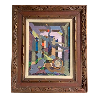 Original Vintage Abstract Expressionist Painting in Vintage Frame For Sale