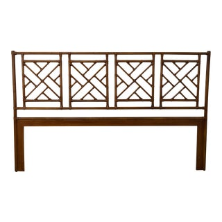 McGuire Chinese Chippendale Style Rattan King Size Headboard