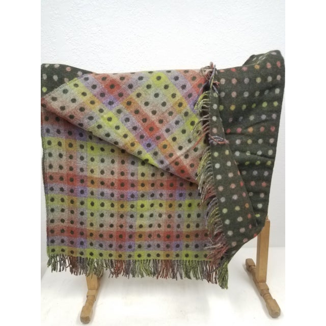 Merino Wool Throw Spot Dark Green - Made in England For Sale - Image 4 of 10