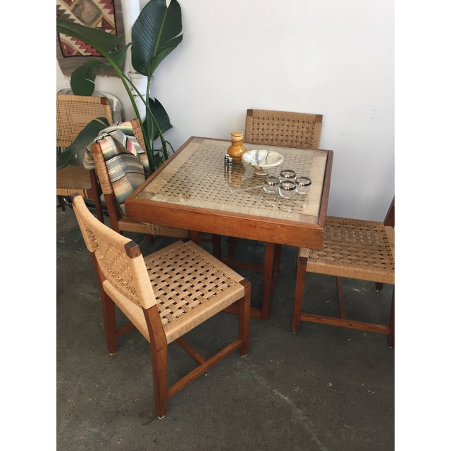 Brown Mid Century Jute Dining Set For Sale - Image 8 of 10