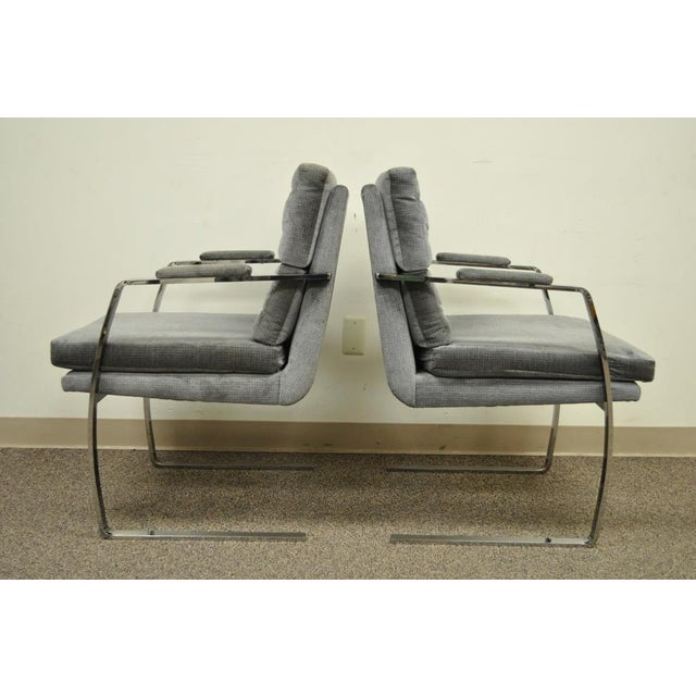 Pair Vintage Mid Century Modern Chrome Steel Cantilever Arm Chairs Baughman Style For Sale - Image 9 of 11