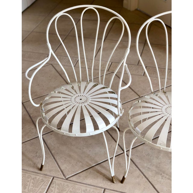 1930s Vintage French Art Deco Francois Carre White and Gold Sunburst Garden Chairs - Set of 3 For Sale In Detroit - Image 6 of 10