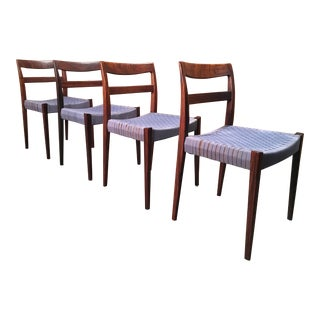 Scandinavian Modern Rosewood Dining Chairs - Set of 4 For Sale