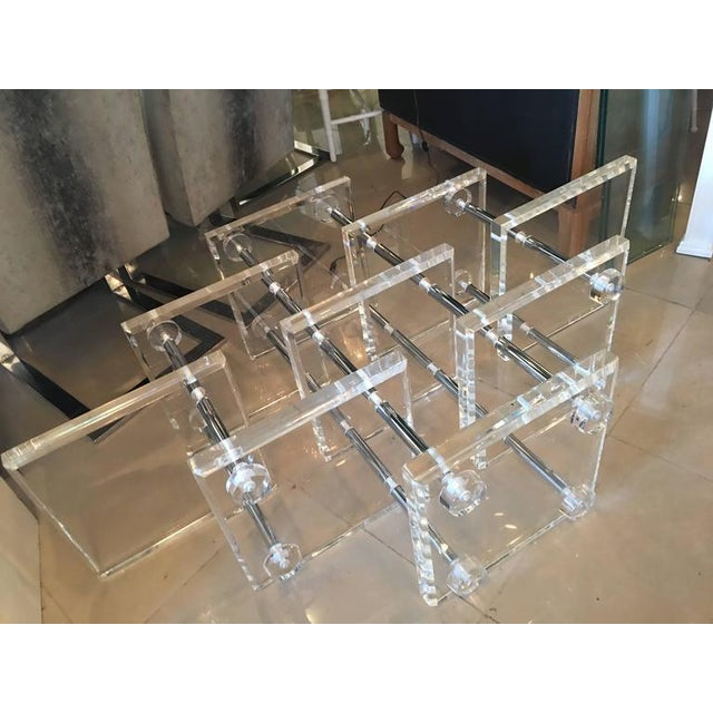 Hollywood Regency Lucite and Chrome Coffee Cocktail Table - Image 7 of 12