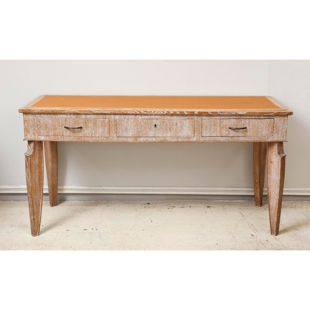 French 1940s Cerused-Oak Leather Top Console/ Writing Desk For Sale - Image 4 of 4