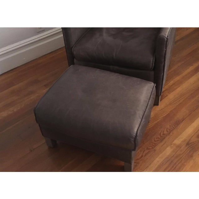 Bram Smoke Leather Ottoman From Room & Board - Image 2 of 3