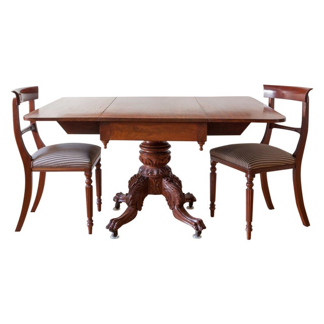 American Federal Drop-Leaf Mahogany Table Set - Image 1 of 7