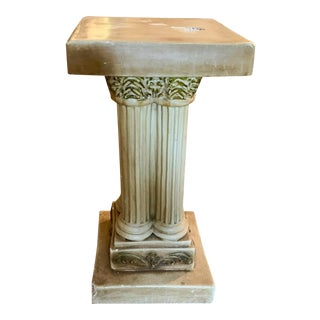 1940s Vintage Faux Stone Hollywood Regency Pedestal For Sale