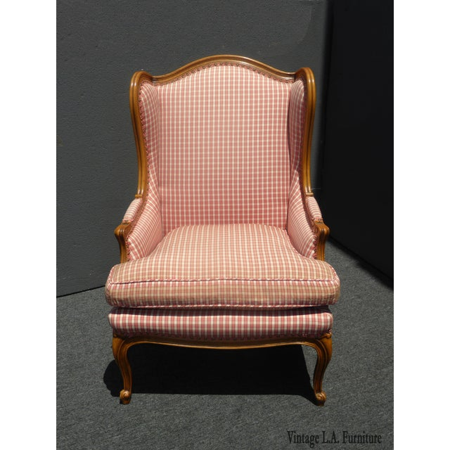 Vintage French Country Farmhouse Chic Red & White Plaid Wingback Chair - Image 3 of 11