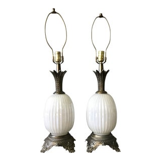 Vintage Pineapple Milk Glass and Bronze Table Lamps - a Pair For Sale
