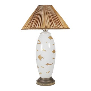 1970s Vintage Porcelain Hand Painted Table Lamp For Sale