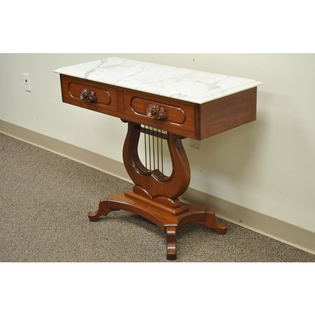 Vintage Victorian Mahogany Marble Top Lyre Harp Base Table