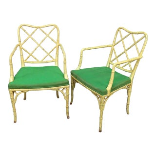 Vintage Mid Century Chinese Chippendale Style Armchairs-A Pair For Sale
