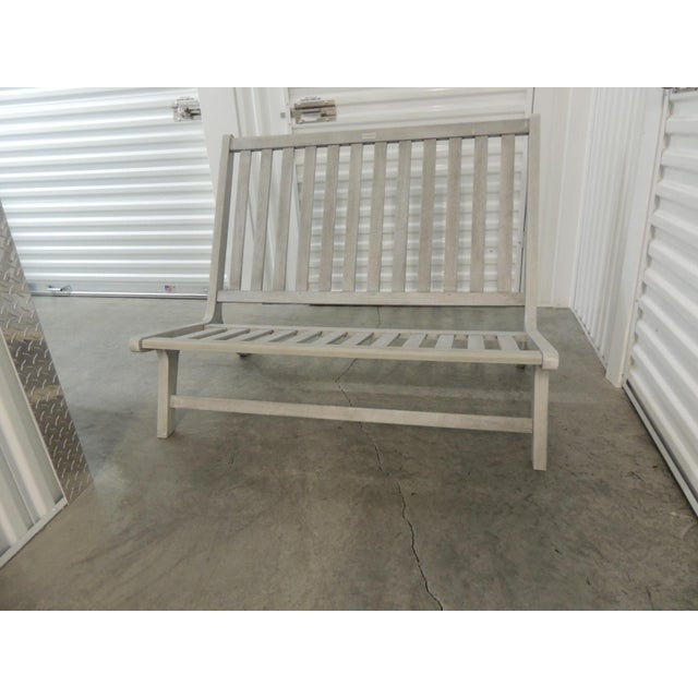 Outdoor Safavieh Weathered Finish Settee For Sale - Image 10 of 10
